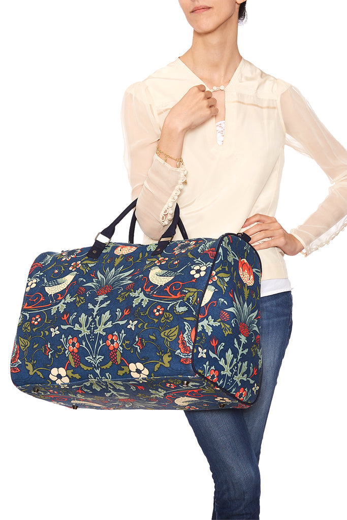 Pre-Order Indigo with Orange Thorn & Thistle Carpet Bag