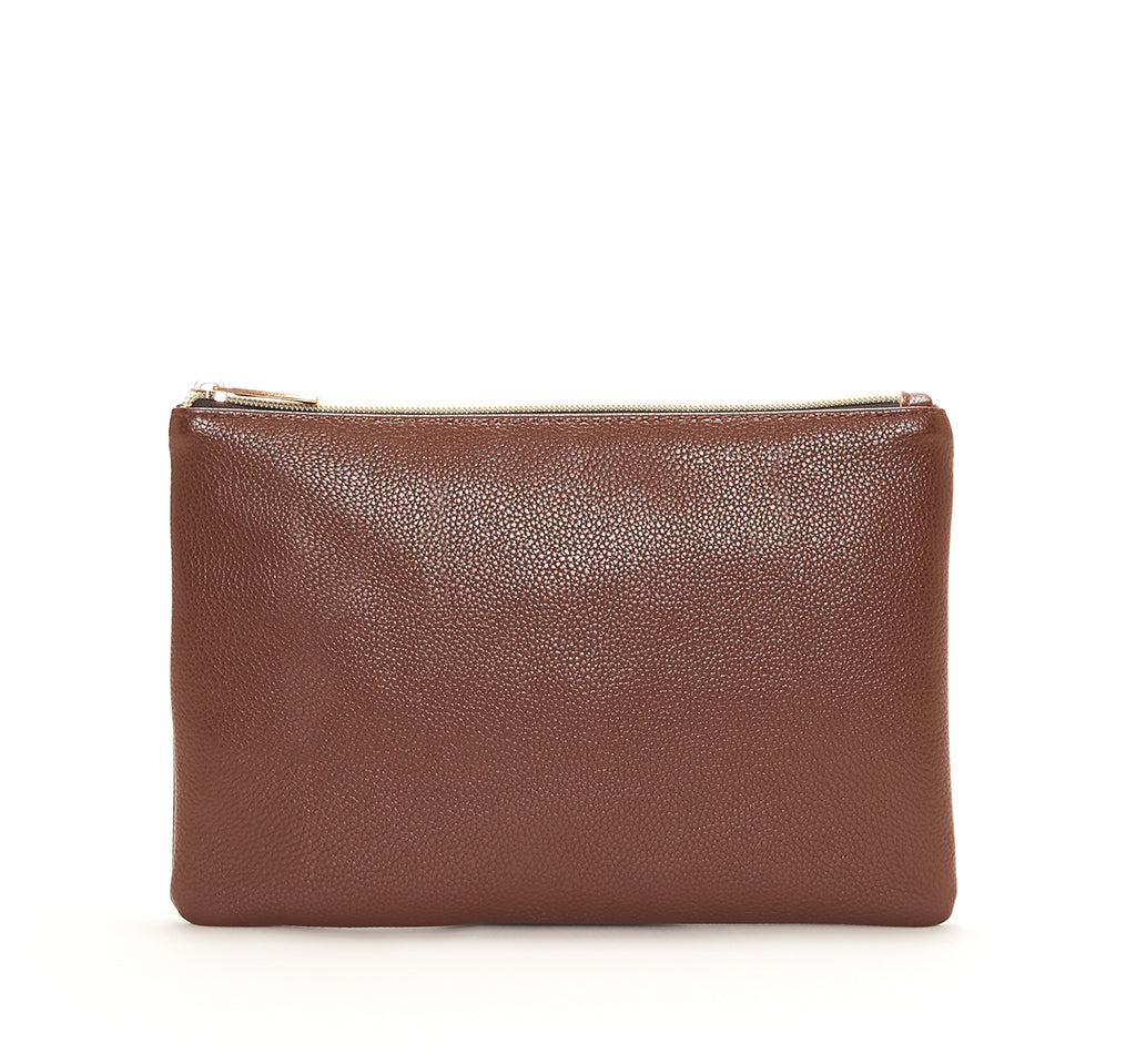 Brown Vegan Leather Zip Clutch