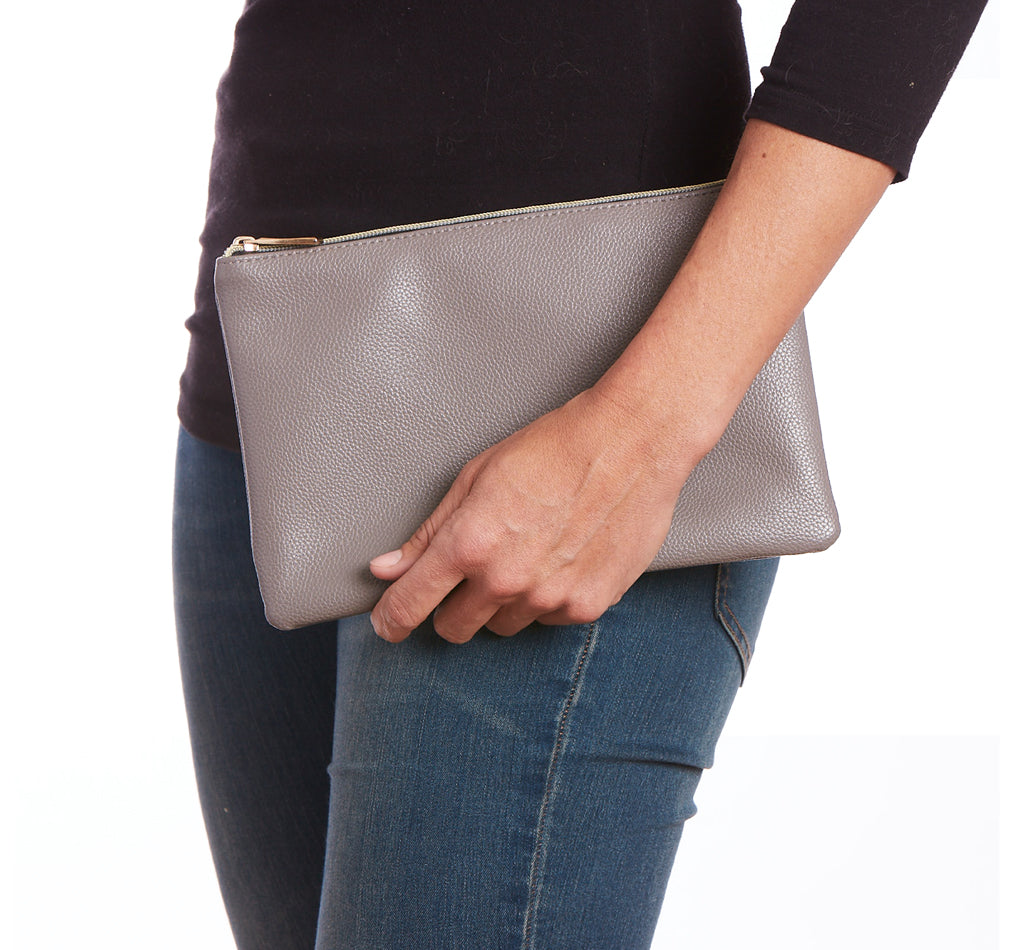 Dark Gray Vegan Leather Zip Clutch
