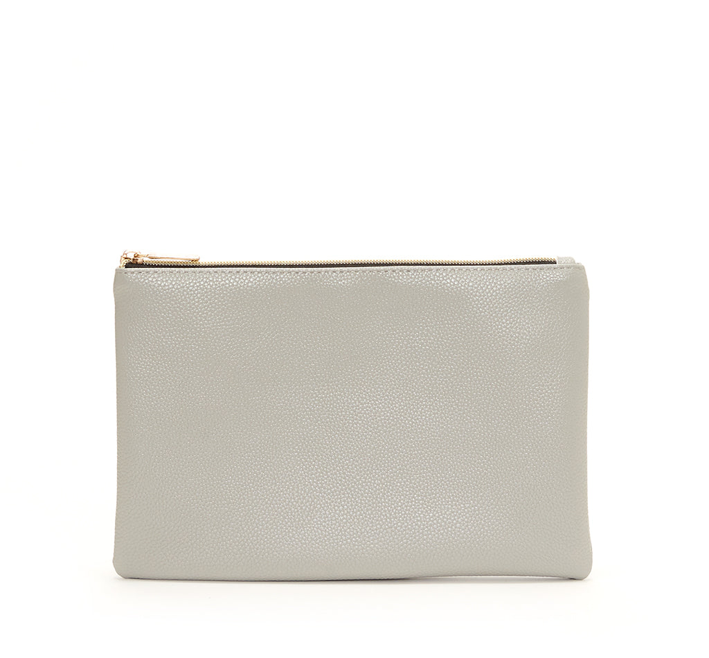 Light Gray Vegan Leather Zip Clutch