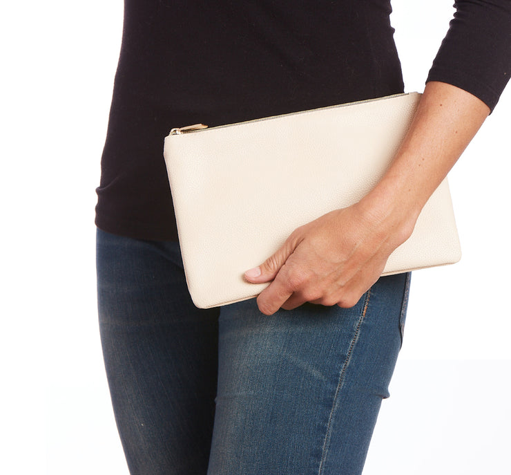 Natural Vegan Leather Zip Clutch