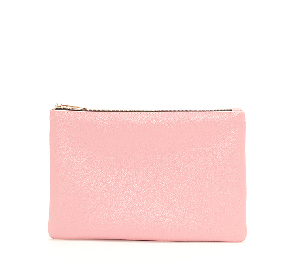 Pink Vegan Leather Zip Clutch