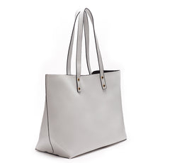 Light Gray Vegan Leather Tote