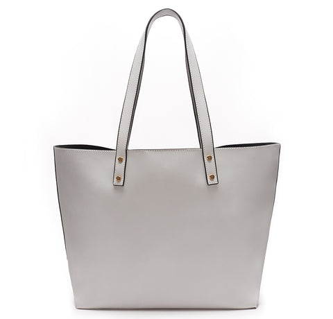 Backordered Light Gray Vegan Leather Tote
