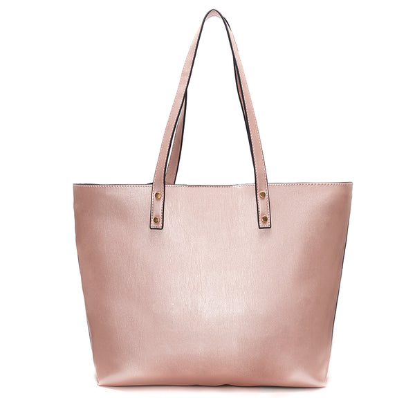 Backordered Metallic Pink Vegan Leather Tote