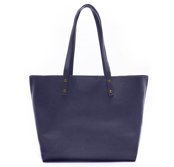 Navy Vegan Leather Tote