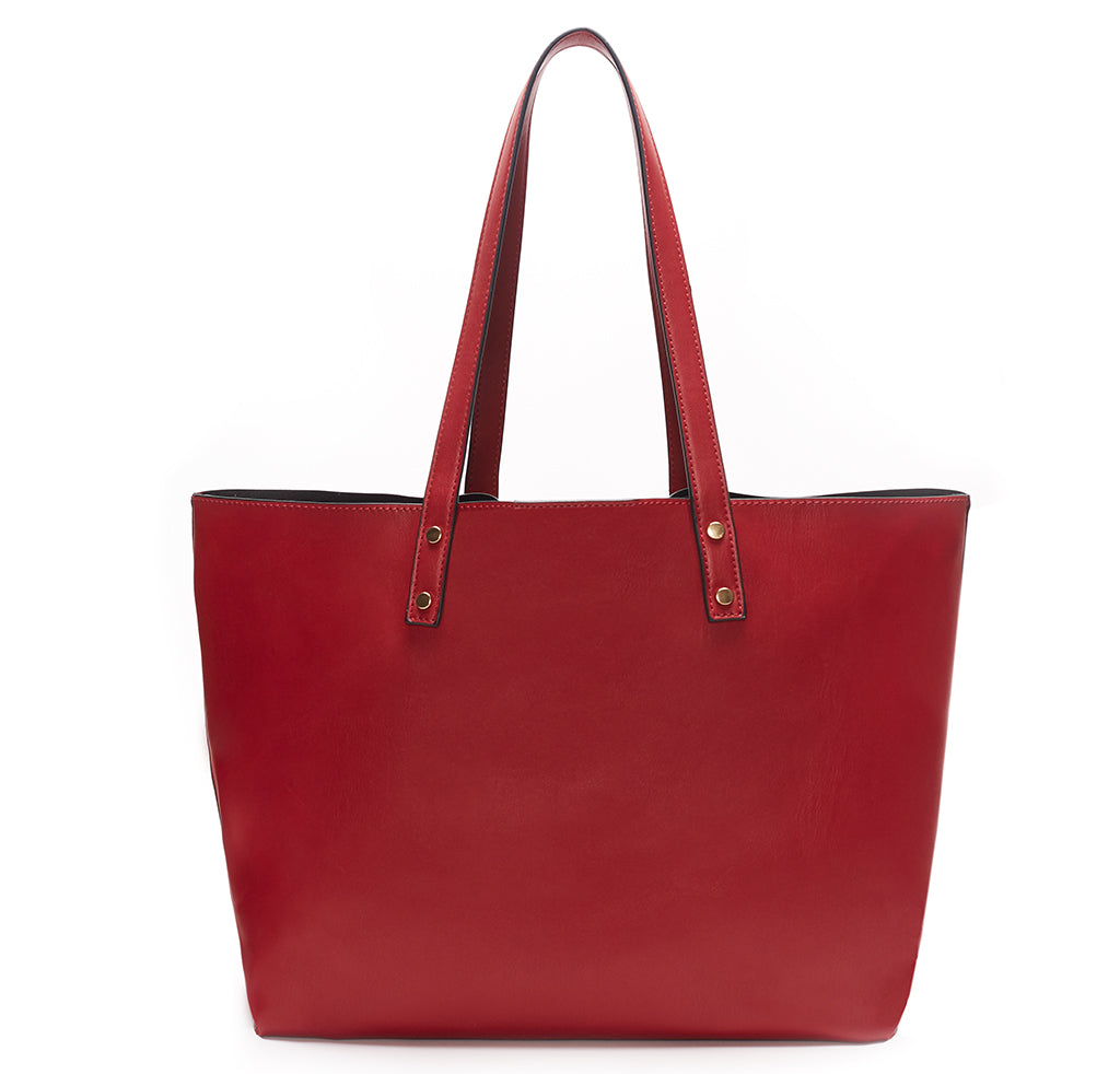 Red Vegan Leather Tote