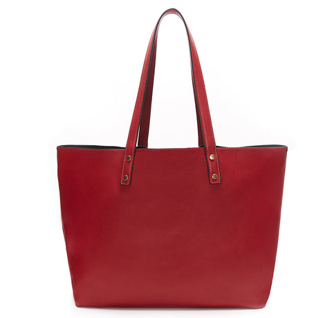 Backordered Red Vegan Leather Tote