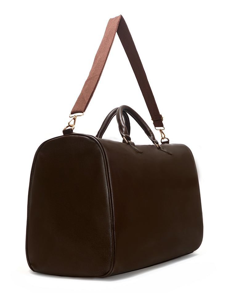 Brown Vegan Leather Weekender Bag