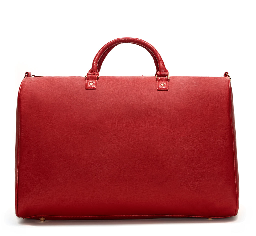 Red Vegan Leather Weekender Bag