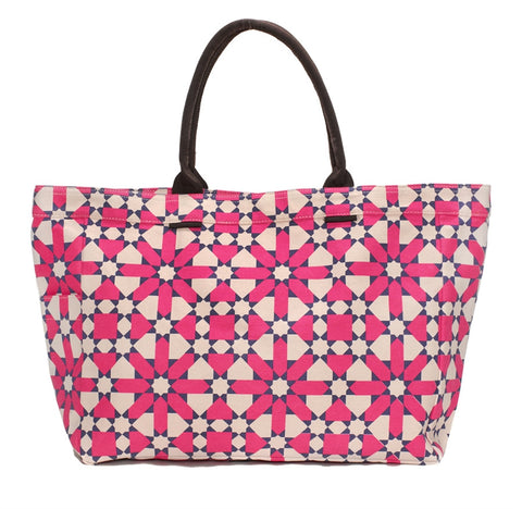 Fuchsia Flower Geometric Tote Bag