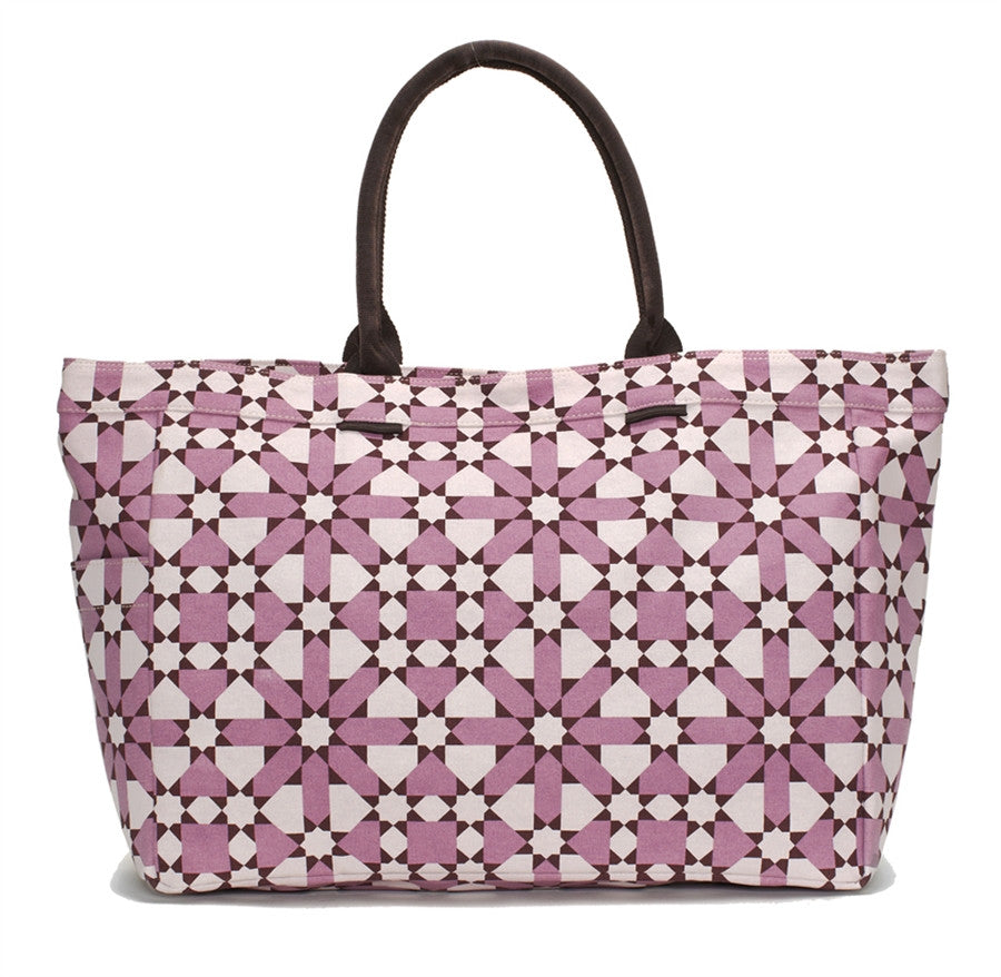 Mulberry Flower Geometric Tote Bag