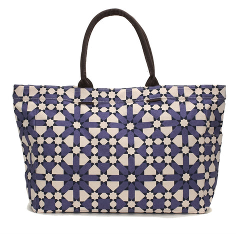 Purple Flower Geometric Tote Bag