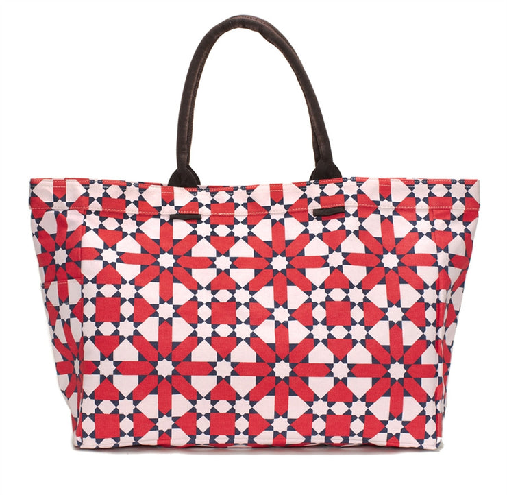 Red Flower Geometric Tote Bag