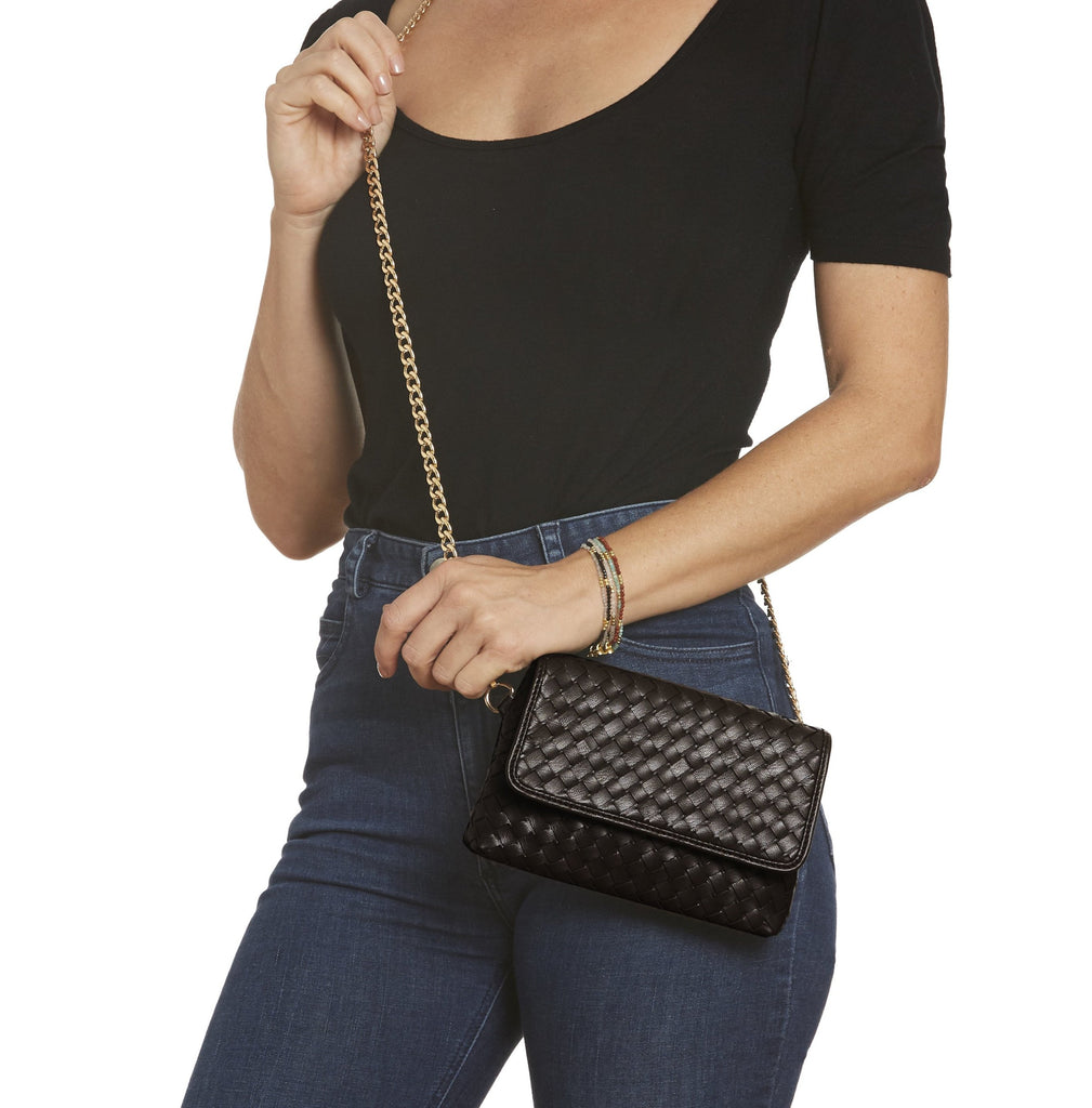 Black Woven Vegan Leather Hip Pack