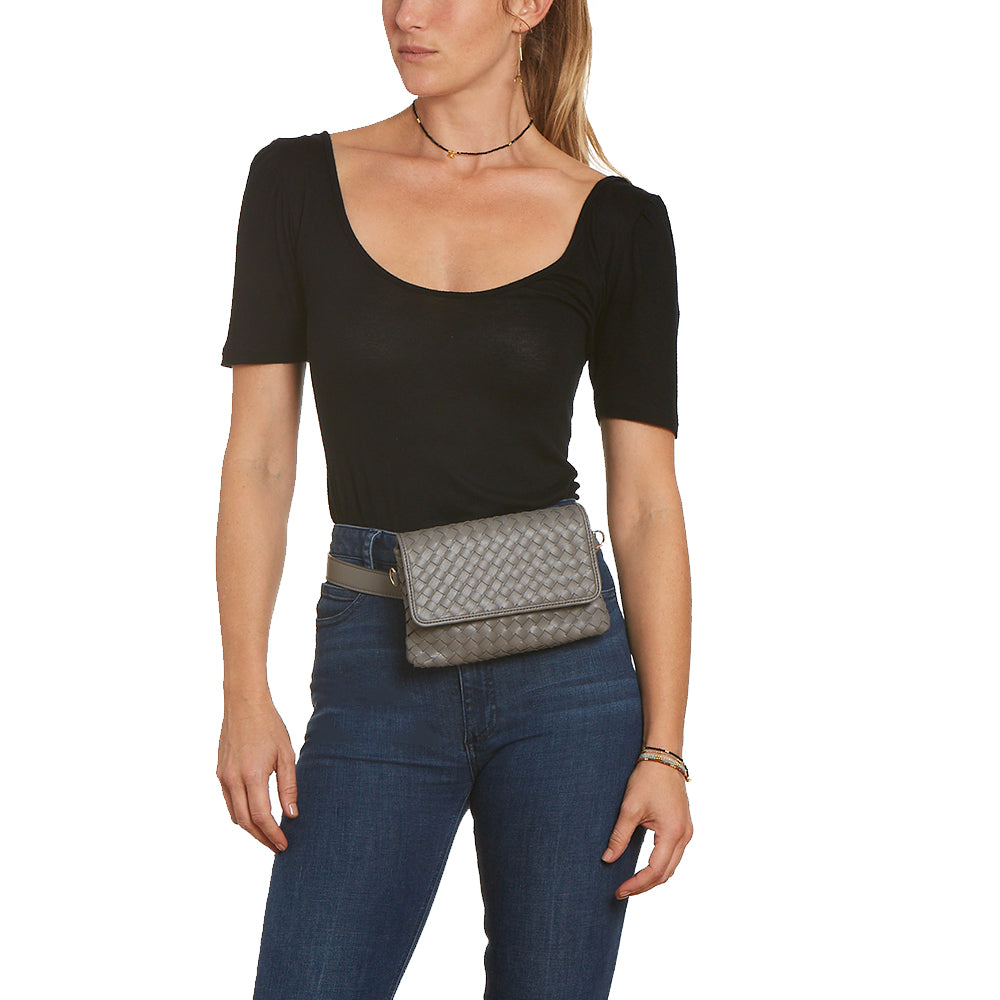 Grey Woven Vegan Leather Hip Pack