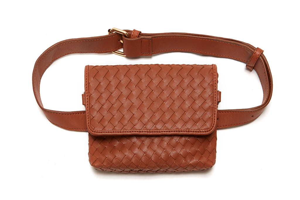 Light Brown Woven Vegan Leather Hip Pack