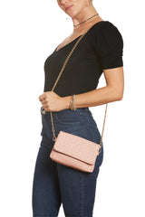 Pink Woven Vegan Leather Hip Pack