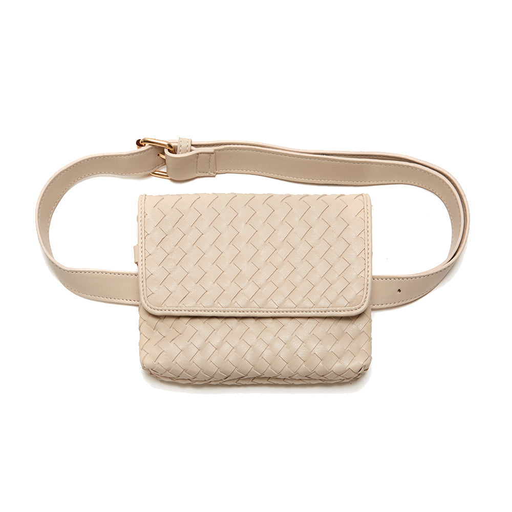 Winter White Woven Vegan Leather Hip Pack