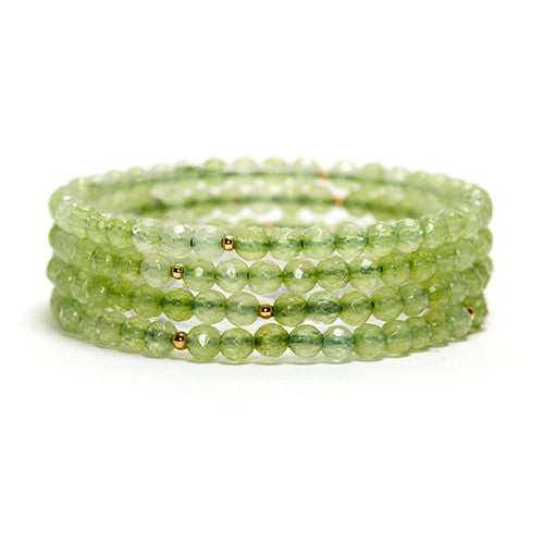 LIGHT GREEN CHALCEDONY LAYERING GEMSTONE STRETCH BRACELET