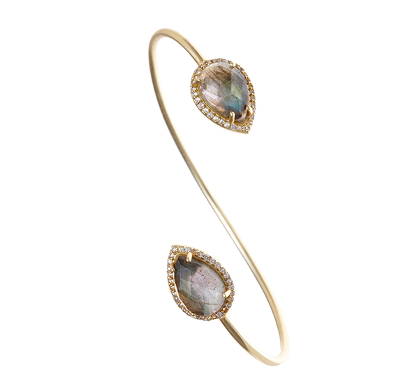 Labradorite Gemstone & Crystal Bangle