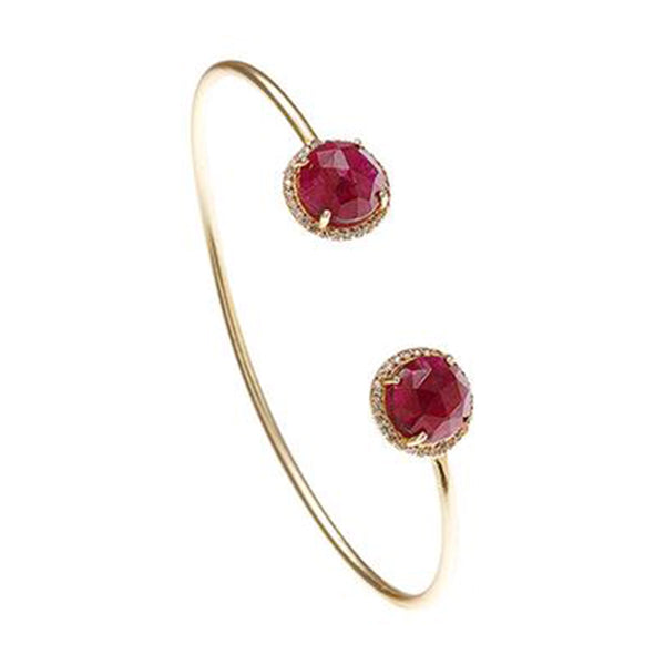 Ruby Gemstone & White Topaz Bangle