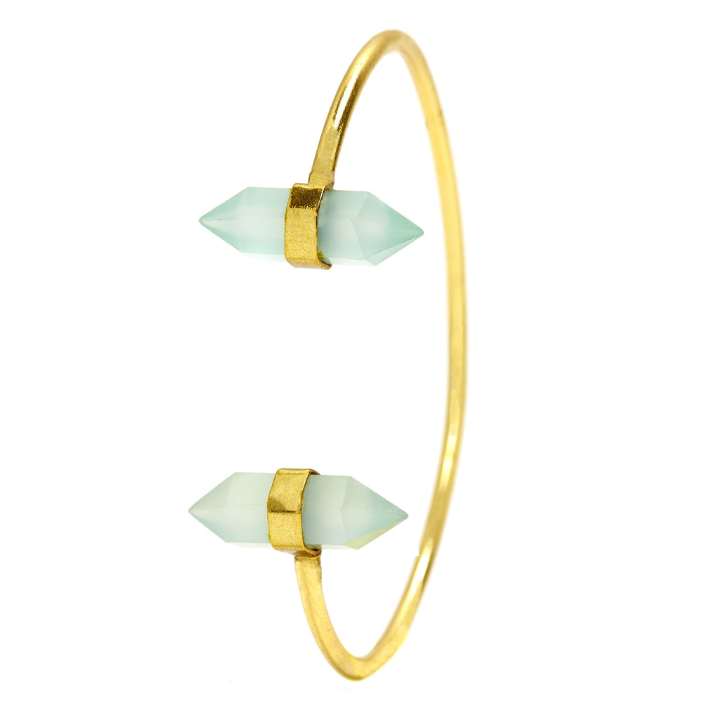 Peru Chalcedony Twin Point Gemstone Cuff