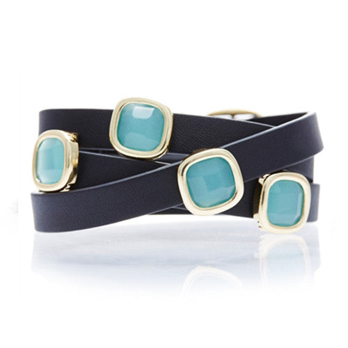 PERU CHALCEDONY AND BLACK LEATHER GEMSTONE WRAP BRACELET
