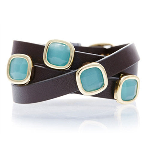 PERU CHALCEDONY AND BROWN LEATHER GEMSTONE WRAP BRACELET