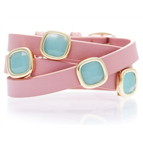 PERU CHALCEDONY AND PINK LEATHER GEMSTONE WRAP BRACELET