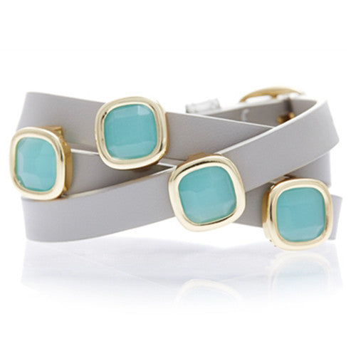 PERU CHALCEDONY AND TAUPE LEATHER GEMSTONE WRAP BRACELET