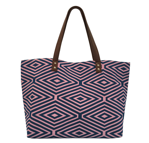 PINK AND BLUE DIAMOND PRINT TOTE BAG
