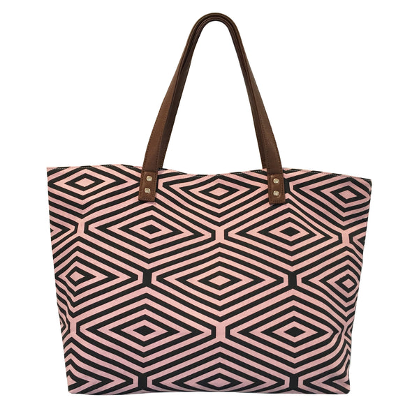 PINK AND BLACK DIAMOND PRINT TOTE BAG