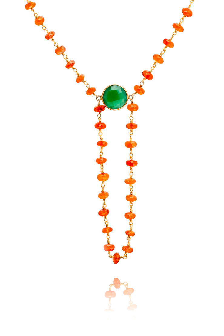 Carnelian with Green Onyx Gemstone Alchemy Necklace