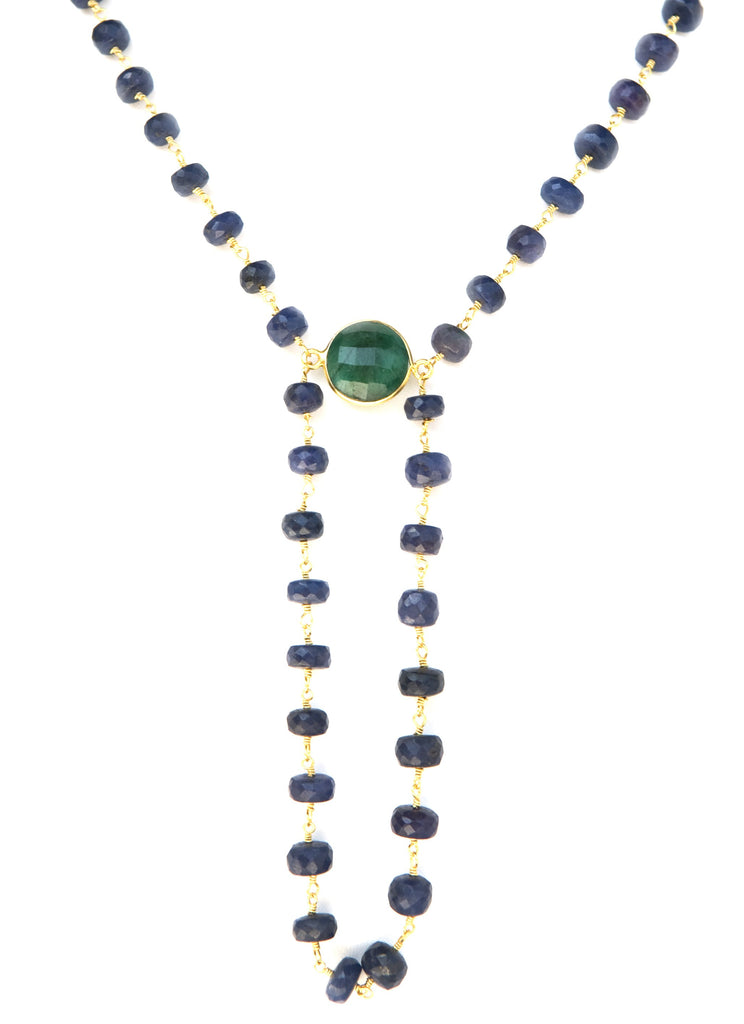 Precious Raw Sapphire with Raw Emerald Gemstone Alchemy Necklace