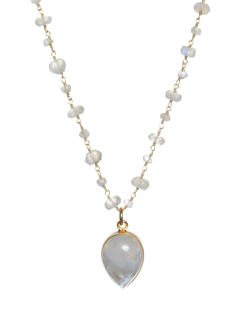 Moonstone Ace of Spade Gemstone Necklace