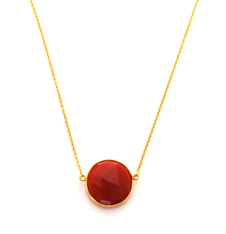 Carnelian Full Moon Necklace