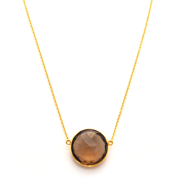 Smokey Quartz Full Moon Necklace