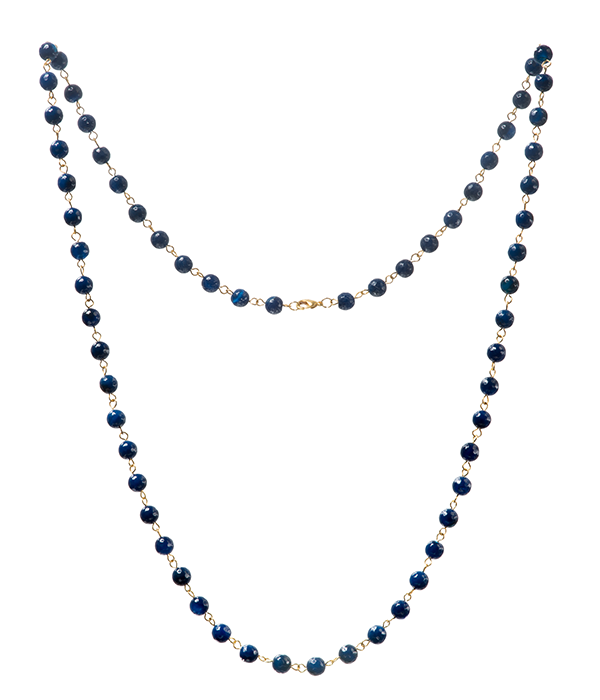 Dark Blue Agate Goddess Necklace