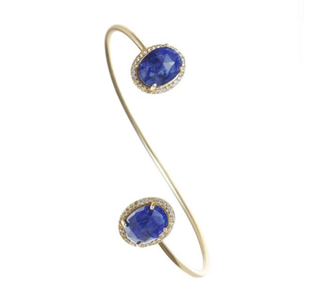Sapphire Gemstone & White Topaz Bangle
