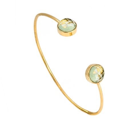 Green Quartz Circle Gemstone Bangle