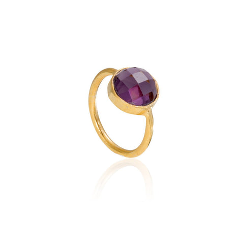 Amethyst Circle Gemstone Stacking Ring