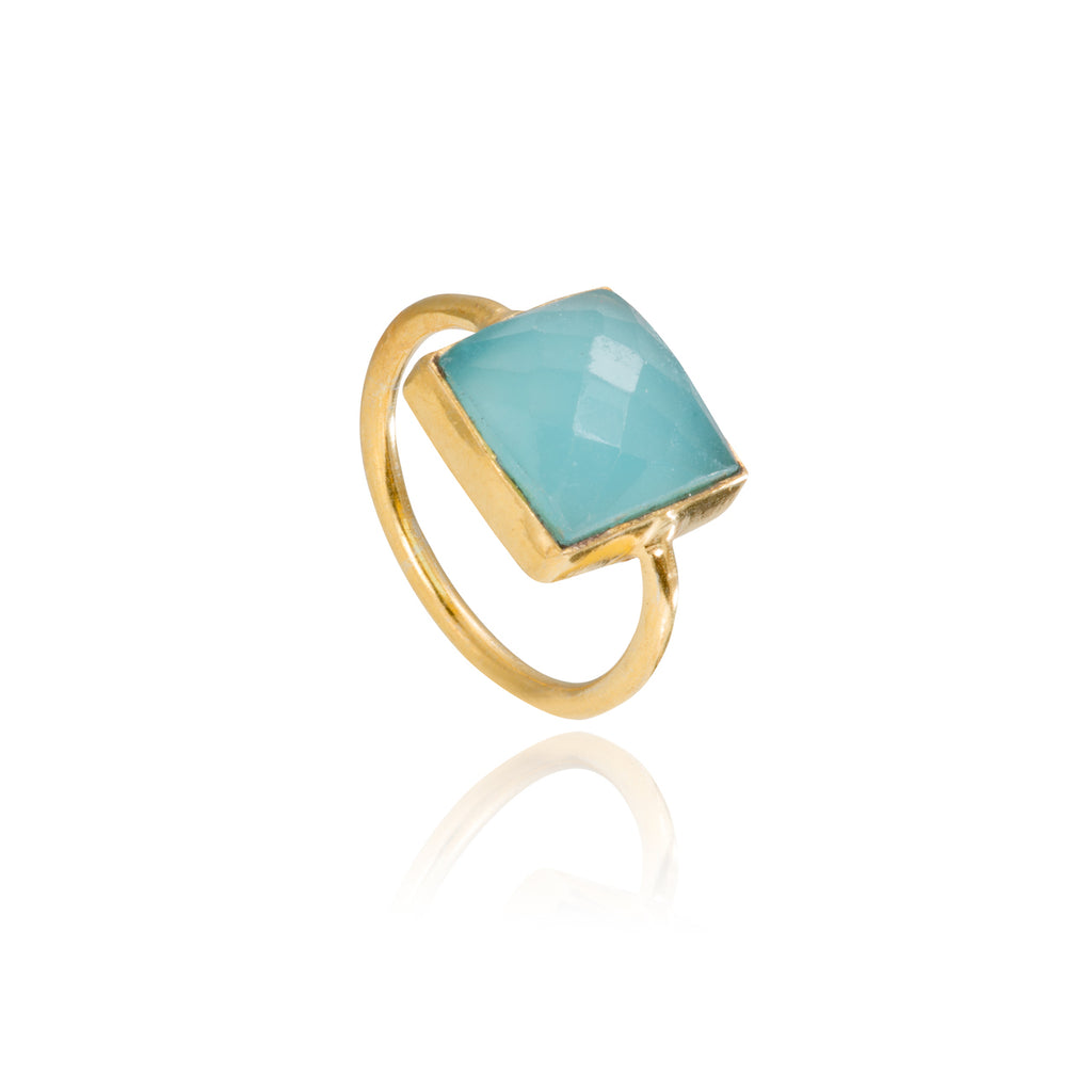 Aqua Chalcedony Square Gemstone Stacking Ring