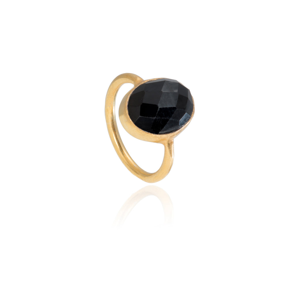 Black Onyx Oval Gemstone Stacking Ring