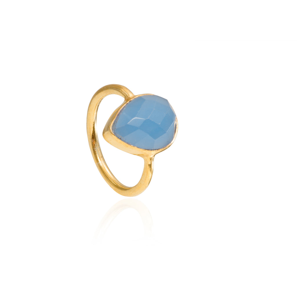 Indigo Chalcedony Teardrop Gemstone Stacking Ring