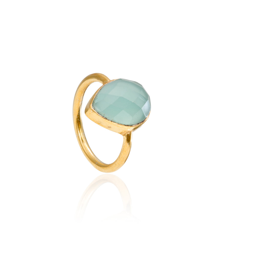 Peru Chalcedony Teardrop Gemstone Stacking Ring