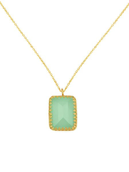 Chalcedony Princess Bezel Necklace