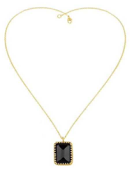 Black Onyx Princess Bezel Necklace