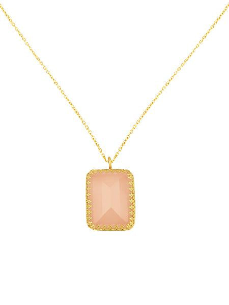 Pink Princess Bezel Necklace