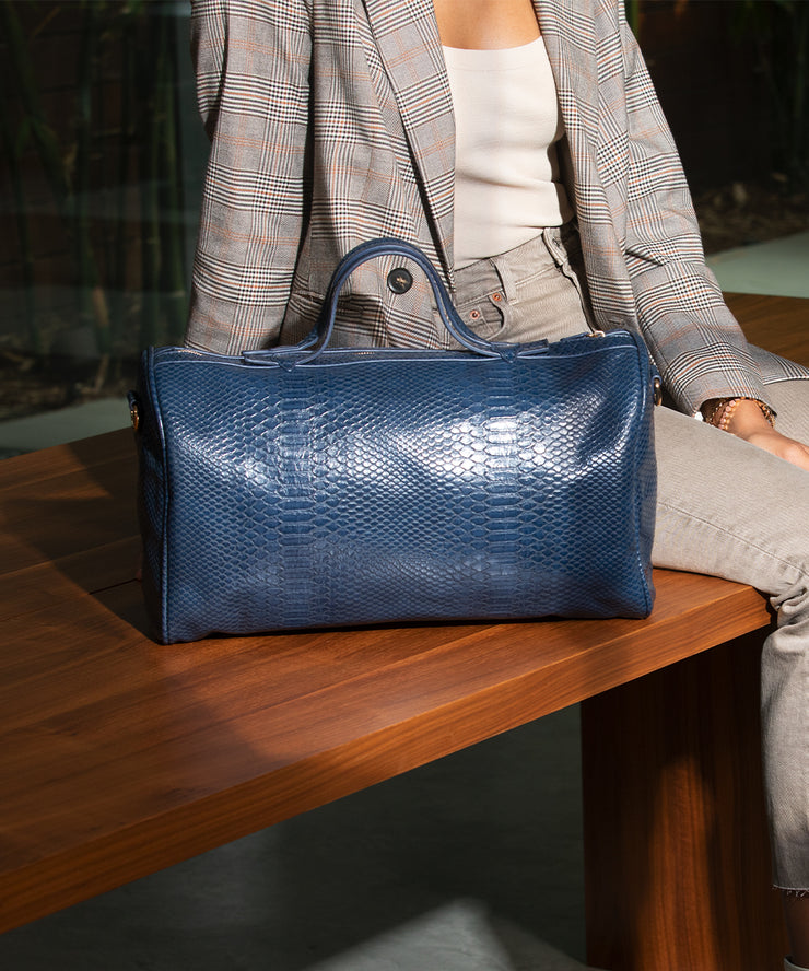 Navy Snake Skin Barrel Bag